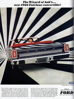 Ford Fairlane convertible car advertisement 1966