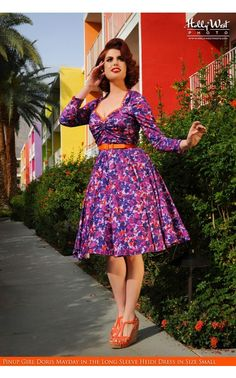 ddd622397fea9 Curve Hugging 1950's Style Swing Dress with Long Sleeves in Pink Floral  Print Stretch Sateen