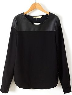 Black Long Sleeve Contrast PU Blouse | This could step up casual a little bit and give it some edge
