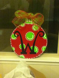 Wooden Christmas door hanging ornament. by DHcraftsandmore on Etsy, $30.00