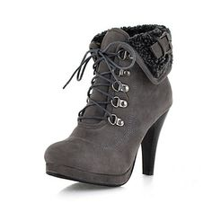 Flocking Cone Heel Platform Booties/Ankle Boots(More Colors) – USD $ 39.99