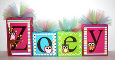 Zoey Colorful Collection Personalized Blocks Owls Hot by slcshop