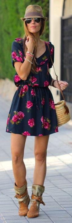 Kuka  Chic Navy Flare Skirt Roses Print Dress by Like A Princess Like.... Kuka