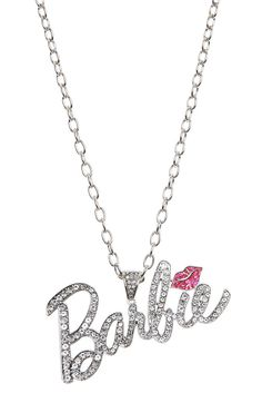 BARBIE PINK KISS BLING NECKLACE