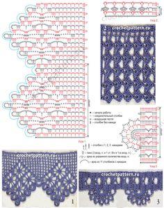 Diagramas e descrição do laço do crochet para toalhas.  Página 135.