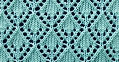 Lace knitting stitch of the Month - September 2015. The Openwork Diamonds sitch is worked over a multiple of 10 stitches plus 6 and 16 row repeat.