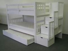 Bunk Beds Twin over Twin Stairway White + Trundle