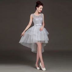 2015 new arrival elegant grey front short back long asymmetrical embroidery and tulle prom dress for wedding, party and prom
