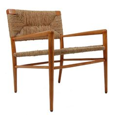 Mel Smilow; Stained Maple and Oak with Rush Armchair for Smilow-Thielle, 1950s.