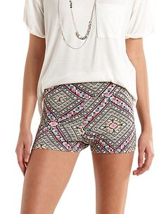 High-Waisted Aztec Bike Shorts #CharlotteRusse #shorts