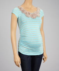 Look what I found on #zulily! Anticipation Aqua Stripe Embellished Maternity Scoop Neck Top - Women by Anticipation #zulilyfinds