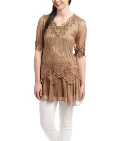 Another great find on #zulily! Brown Silk-Blend Floral Tunic by Pretty Angel #zulilyfinds