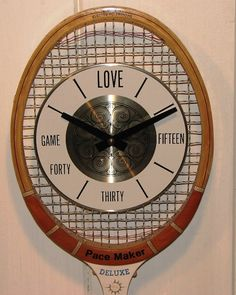 Vintage Wood Tennis Racket Clock - C. 1970's