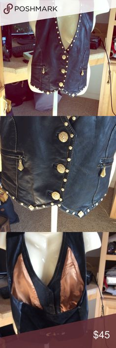 TUTTO PELLE Leather Studded Vest. Brand new with label gorgeous Studded Leather Vest. Jackets & Coats Vests