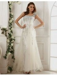 Soft Tulle Single Shoulder Strap Neckline Embroidery and Bead Bodice Full Length A-line Prom Dress