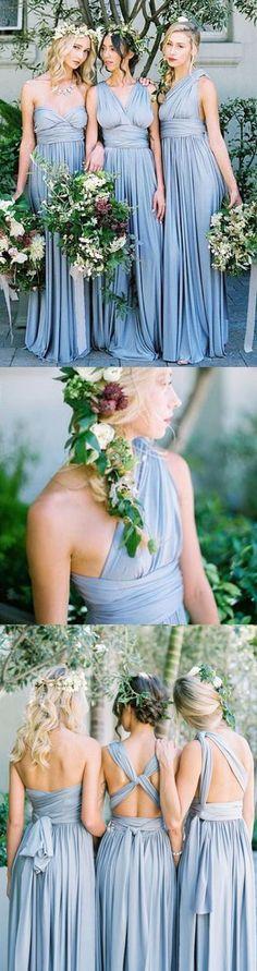 Blue Jersey Convertible Long Charming Wedding Party Bridesmaid Dresses, WG437 #bridesmaid #bridesmaids #wedding #weddings #bridesmaiddress #weddingpartydress #convertible