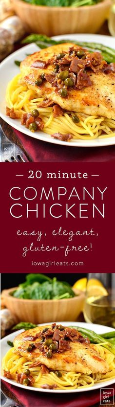 20 Minute Company Chicken is an easy and elegant, one skillet, gluten-free chicken breast recipe that's ready in just 20 minutes. Perfect for entertaining! | iowagirleats.com