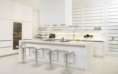 White Kitchen Ideas with Contemporary White Kitchen Island complete with the Stools also Base Cabinet and Useful Wall Shelving for Modern White Kitchen Design Inspirations Kitchen Remodel, Open Kitchen Shelves, Kitchen Decor, Modern Kitchen Island Design, Contemporary Kitchen, White Modern Kitchen, Modern White Kitchen Cabinets, Minimalist Kitchen, Kitchen Design