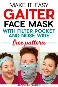 Easy Gaiter Face Mask Pattern with Filter Pocket and Nose Wire - free printable pattern and SVG cut file #sewing #cricut #tutorial Easy Face Masks, Diy Face Mask, Nose Mask, Sewing Patterns Free, Free Pattern, Pattern Sewing, Pants Pattern, Craft Patterns, Clothes Patterns