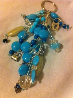 Blue silver beaded key chain with charms by momskeychains on Etsy, $15.00