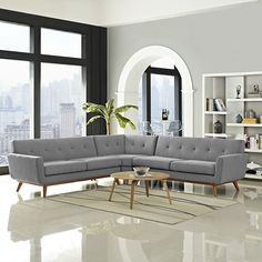Modway Engage Mid-Century Modern Upholstered Fabric L-Shaped Sectional Sofa In Expectation Gray Modular Sectional Sofa, Modern Sectional, Living Room Furniture, Modern Furniture, Home Furniture, Outdoor Furniture, Antique Furniture, Industrial Furniture, Rustic Furniture