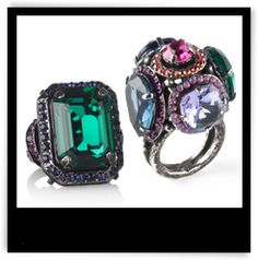 Lanvin Tutti Frutti Swarovski Crystal Rings