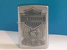 ZIPPO HARLEY DAVIDSON MOTORCYCLES LIGHTER XV MADE IN USA SILVER EAGLE TOBACCIANA