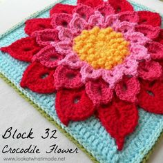 Block 32: The Crocodile Flower {Photo Tutorial} Block 32 of the Block a Week CAL 2014 is Joyce Lewis' Crocodile Flower Square. This is such a gorgeous design. No wonder it is currently in the Ravelry Top 10! http://www.lookatwhatimade.net/crafts/yarn/crochet/block-32-crocodile-flower-photo-tutorial/?utm_campaign=coschedule&utm_source=pinterest&utm_medium=Look%20At%20What%20I%20Made%20(Crochet%20Away)&utm_content=Block%2032%3A%20%20The%20Crocodile%20Flower%20%20%7BPhoto%20Tutorial%7D