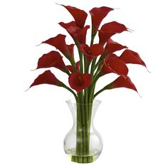 Nearly Natural 1299-RD Galla Calla Lily with Vase Arrangement, Red ** Discover this special product, click the image (This is an amazon affiliate link. I may earn commission from it)