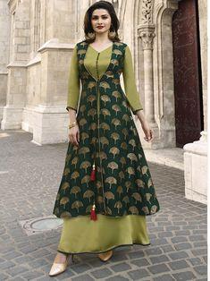 c7e8b13aeb New indian Designer Party Wear Green & Olive colour Full Length Shrug Style  dress