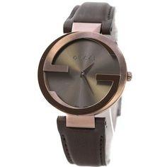 Gucci YA133309 Interlocking Brown Strap Women's Brown PVD Steel Watch 30% off retail