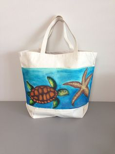 Tote Bag with Hand Painted Turtle and by GulfLifebyNichole on Etsy, $25.99