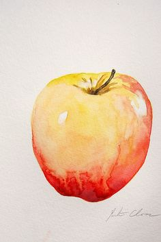 "Watercolor Painting, Apple Still Life, Original, Small Painting, 6""x9"""