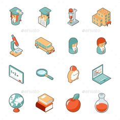 Education and School Isometric 3d Icons