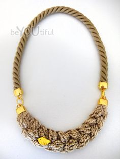 rope necklace with beige braid  beige / gold by beYOUtifulhandmade, €28.00
