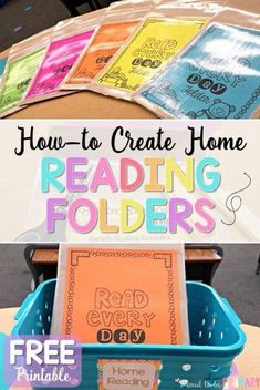 Are you a teacher in need of classroom organization tips and ideas for setting up a classroom and home reading program? Read this post for tips and strategies to implement a reading program for children using Daily 5, using leveled readers and book baskets to teach kids to read, and more. Plus how-to create reading folders with a FREE parent hand-out printable. #earlyliteracy #teachingreading #classroomorganization #teacherfreebie
