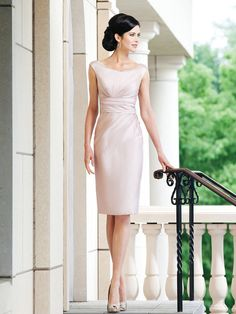 Φερμουάρ Λεπτομέρειες Πίσω Μέρους Σούρες Ταφετάς Ροζ Περλέ Προβαλλόμενο Χρώμα Μέχρι το Γόνατο φορεματα γαμου για μαμαδες