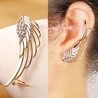 Pendientes nova moda Punk Rhinestone Brincos clipe para mulheres da asa do anjo brinco de ouro Ear Cuff Brincos jóias grátis frete