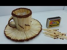 How To Make Matchstick Cup - Matchstick art ideas Popsicle Stick Crafts, Craft Stick Crafts, Diy And Crafts, Decor Crafts, Matchstick Craft, Cardboard Crafts Kids, Craft From Waste Material, Stick Art, Quilling Designs