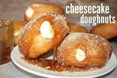 Share with your friends!00000 CHEESECAKE DOUGHNUTS! 1 container of Pillsbury Grands Flaky Layers Biscuits 1 container of Philadelphia Cream Cheese Cheesecake Filling..or you can make your own. (You'll have some left over, if you use the packaged filling) Oil for frying..I used Canola Caramel topping Graham cracker crumbs..for sprinkling Directions: Fry up each biscuit in …