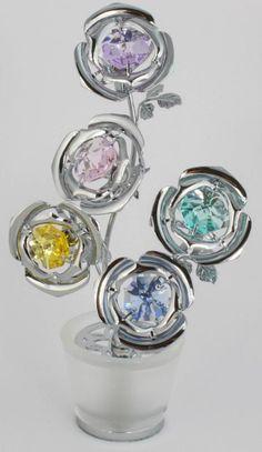 Figur mit Kristallen Blumentopf silberfarb.5 Blumen MADE WITH SWAROVSKI ELEMENTS - premium-kristall
