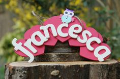 Handmade name plaque made from wooden hearts and wooden letters. Can customise to different colours and decortations (P&P not incl) Name Plaques, Wooden Hearts, Wooden Letters, Beautiful Hands, Decorating Your Home, Birthday Candles, Different Colors, Shabby Chic, Colours