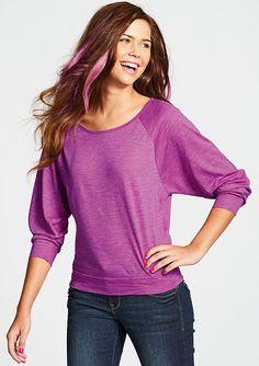 Purple Banded Dolman Top