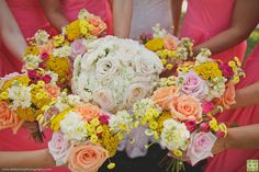 Fun bright colors bridesmaid bouquets Whim Florals | Camp Lucy | Ian's Chapel | Doberenz Photography