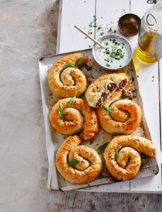 These feta filo spirals are the perfect lunchbox snack.