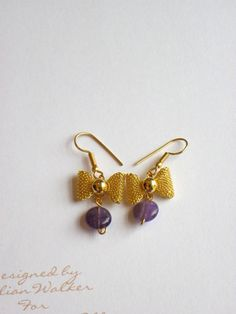 Bows and Amethyst Drops Earrings £15