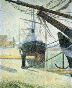 'Corner of the Harbour of Honfleur' (1886) by Georges Seurat