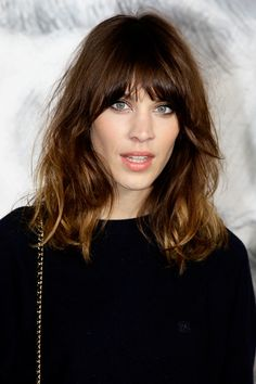 Alexa Chung long messy bob with bangs