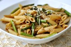 Penne with Roasted Asparagus and Balsamic Butter--use broccoli when asperagus isn't feasible.