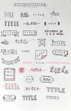 Bullet Journal School, Bullet Journal Paper, Bullet Journal Titles, Journal Fonts, Bullet Journal Lettering Ideas, Bullet Journal Notebook, Bullet Journal Aesthetic, Bullet Journals, Bullet Journal Writing Styles